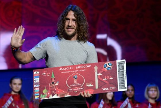 Draw assistant Carles Puyol, former Spain's defender, poses on the stage of the State Kremlin Palace in Moscow on November 30, 2017, on the eve of the Final Draw for the 2018 FIFA World Cup