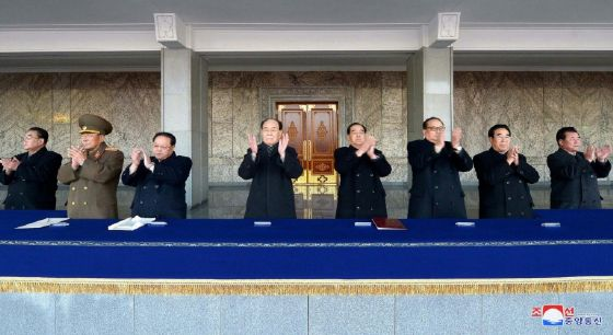 President of the Presidium of the Supreme People's Assembly of North Korea, Kim Yong-Nam (4th L) attendsa rally with other leaders in Pyongyang to celebrate the North's declaration on November 29 it had achieved full nuclear statehood