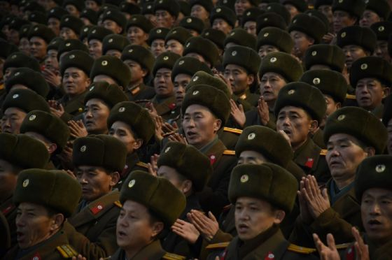 North Korean soldiers attend a mass rally to celebrate the North's declaration on November 29 it had achieved full nuclear statehood, on Kim Il-Sung Square in Pyongyang