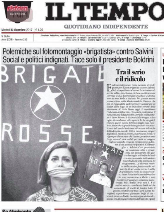 Laura Boldrini sulla prima de Il Tempo