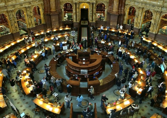 The main reading room of the Library of Congress, which announced it would scale back its plan for a digital archive of every message on Twitter