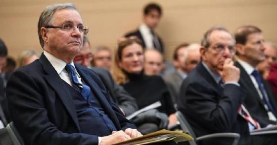 Il Governatore della Banca d'Italia, Ignazio Visco con il Ministro delle Finanze, Pier Carlo Padoan