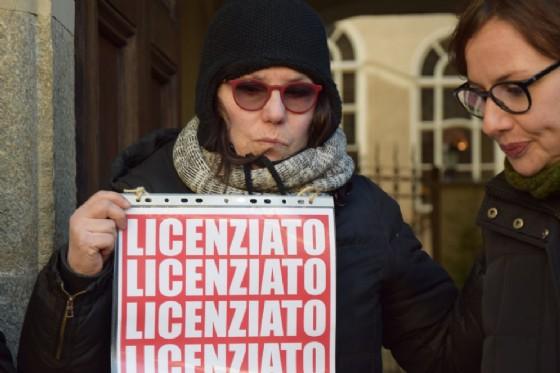 Protesta di fronte alla sede della Fondazione Torino Musei