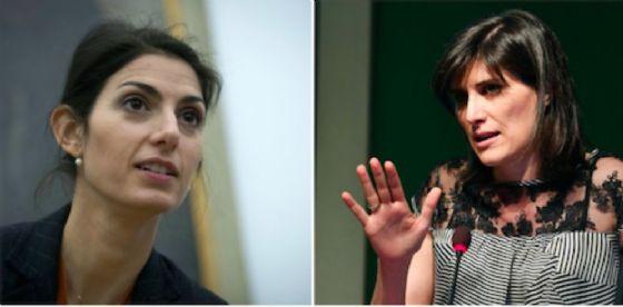 La sindaca di Roma Virginia Raggi e accanto quella di Torino Chiara Appendino
