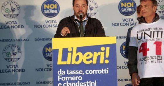Matteo Salvini, leader della Lega, durante una manifestazione elettorale