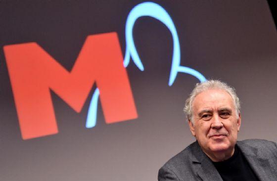 Michele Santoro durante la presentazione del programma ''M'' in onda su Rai3
