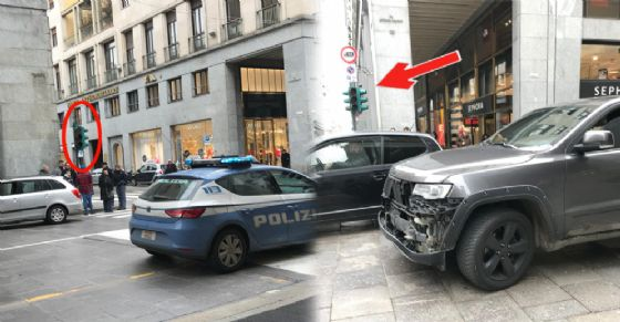 L'incidente avvenuto in via Roma