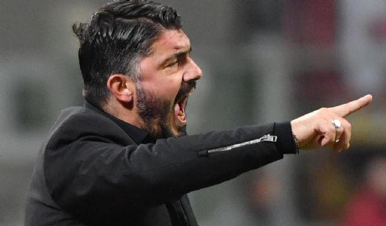 L'allenatore del Milan Rino Gattuso