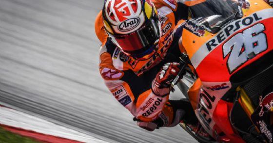 Dani Pedrosa in azione sulla sua Honda nei test di Sepang