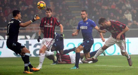 Il momento del gol di Cutrone contro la Lazio