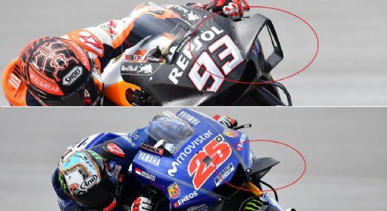 Le alette sulla Honda di Marc Marquez (sopra) e sulla Honda di Maverick Vinales (sotto)