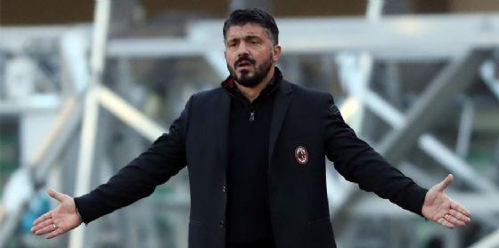 Lo sconforto del tecnico rossonero Gattuso