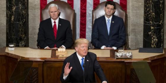 Il presidente Usa Donald Trump durante il suo discorso sullo stato dellUnione.