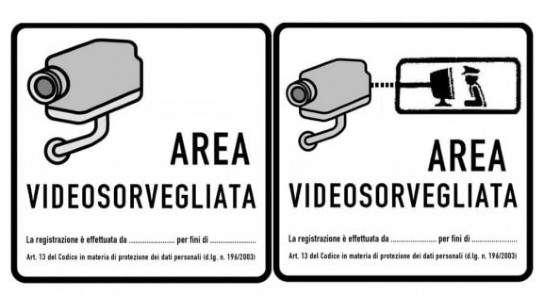 I cartelli che avvisano della presenza di telecamere