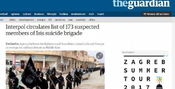 L'articolo del Guardian sulla lista dell'Interpol.