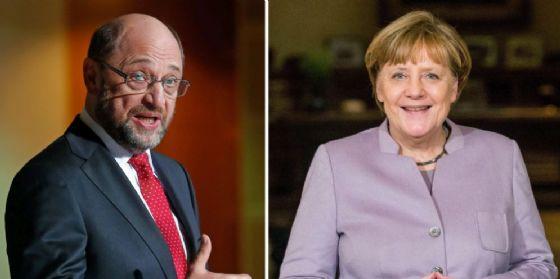Il capo della Spd Martin Schulz e la cancelliera Angela Merkel