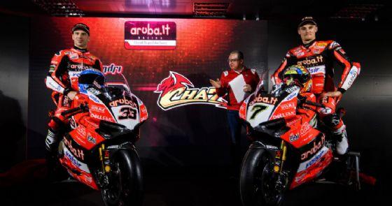 Chaz Davies e Marco Melandri alla presentazione della Ducati Panigale R 2018