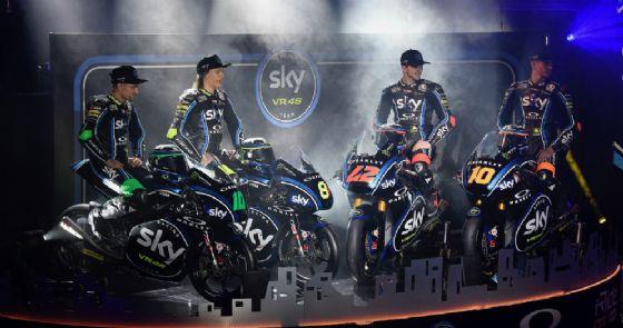 La presentazione del team Sky Vr46 2018: Dennis Foggia, Nicolò Bulega, Pecco Bagnaia e Luca Marini