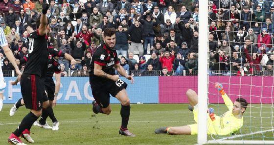 Patrick Cutrone porta in vantaggio il Milan dopo 2 minuti di gioco