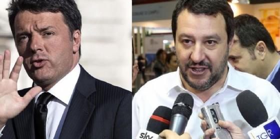 Il segretario Pd Matteo Renzi e il leader del Carroccio Matteo Salvini