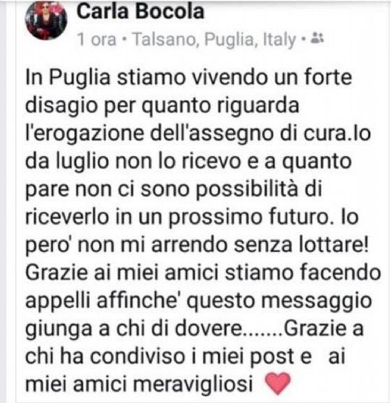L'appello di Carla Bocola