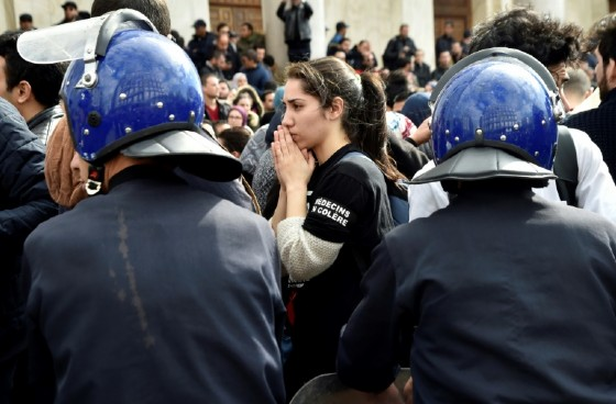 Algerian anti riot police surround trainee doctors during a protest in the capital Algiers, on February 12, 2018, as part of a three-month-long strike against compulsory public service