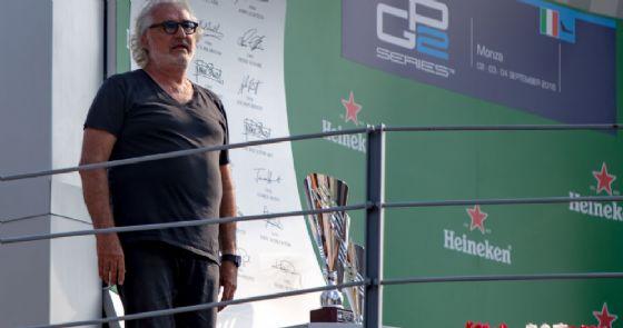 Flavio Briatore sul podio del Gran Premio di Monza 2016