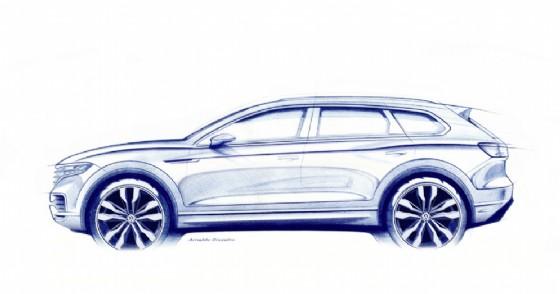 Un bozzetto della nuova Volkswagen Touareg