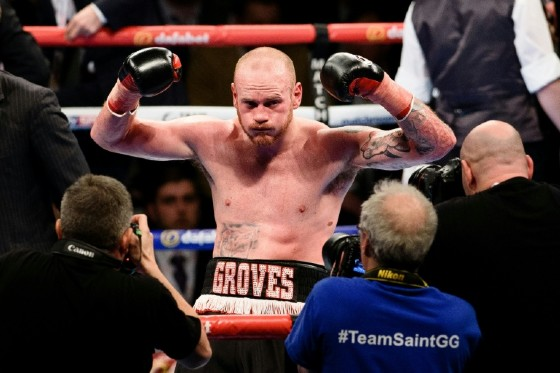 British boxer George Groves poses for photographers after defeating Italy's Andrea Di Luisa in their Int'l super middleweight contest in east London, in January 2016