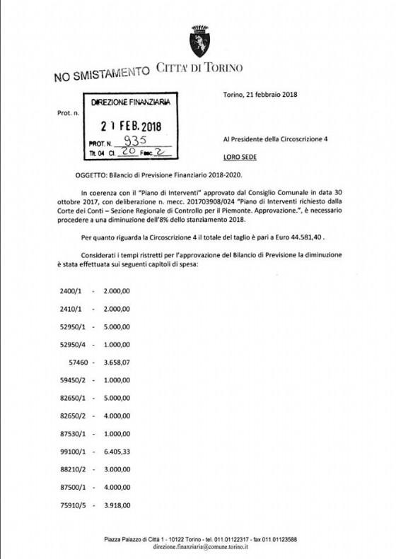 Il documento ricevuto da Claudio Cerrato, presidente della Circoscrizione 4