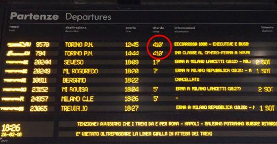 Treni in ritardo per Torino: attesa di 410 minuti