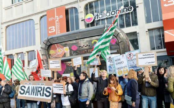 Manifestazione dei lavoratori di Italiaonline