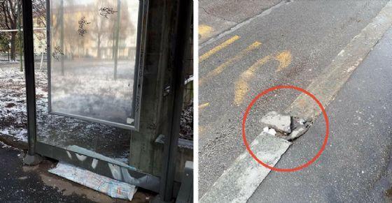 La pensilina e il marciapiede danneggiati