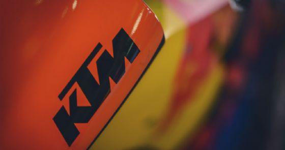 Il logo Ktm sulla moto della casa austriaca in MotoGP