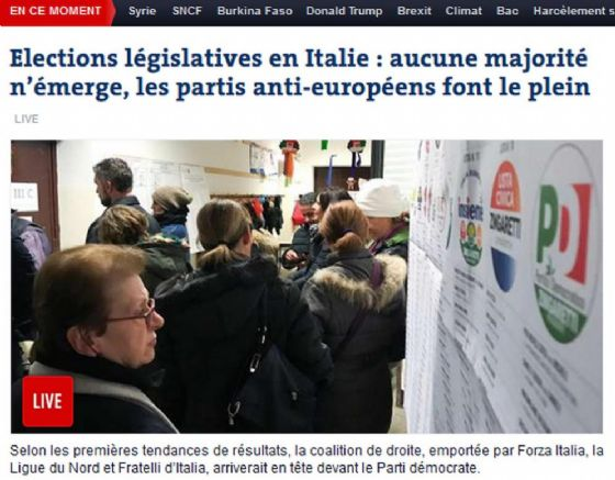 Uno screenshot del pezzo di apertura di Le Monde versione online