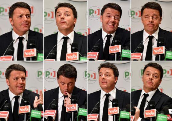 Matteo Renzi durante la conferenza stampa in cui ha rassegnato le dimissioni da segretario del Pd