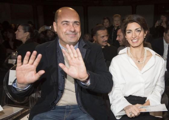 Il presidente della Regione Lazio, Nicola Zingaretti con il sindaco di Roma, Virginia Raggi