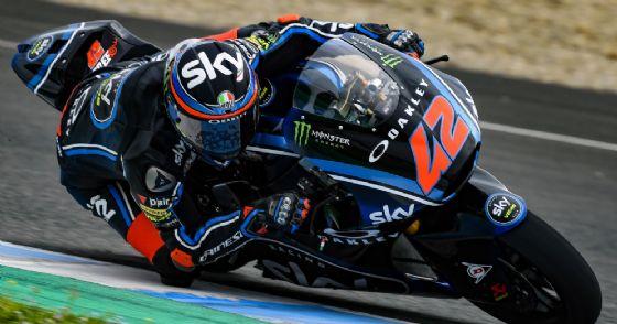Pecco Bagnaia in sella alla Kalex del team Sky Vr46 nei test di Jerez de la Frontera
