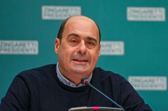 Il presidente della Regione Lazio, Nicola Zingaretti, durante una conferenza stampa sul risultato delle elezioni nel Lazio