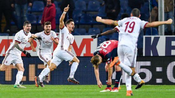 La gioia dei rossoneri dopo il gol di Andrè Silva