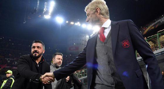 Gennaro Gattuso ed Arsene Wenger si salutano prima di Milan-Arsenal