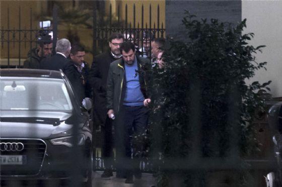 Il leader della Lega Matteo Salvini al suo arrivo a Palazzo Grazioli
