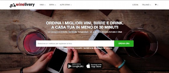 L'home page di winelivery