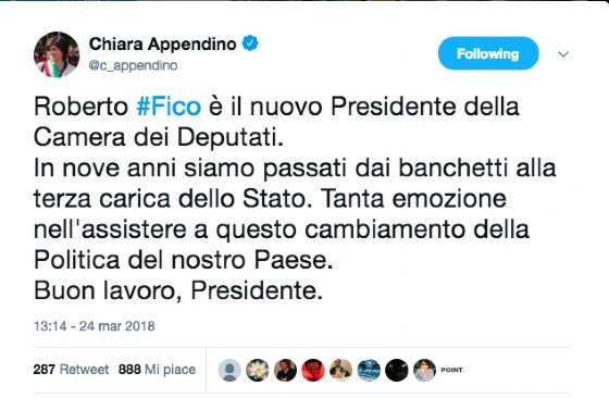 Il tweet di Chiara Appendino