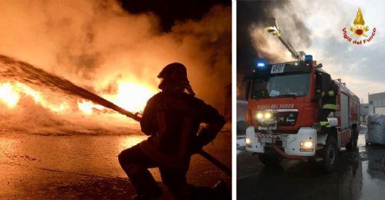 Incendio distrugge azienda di recupero imballaggi plastici nel Torinese