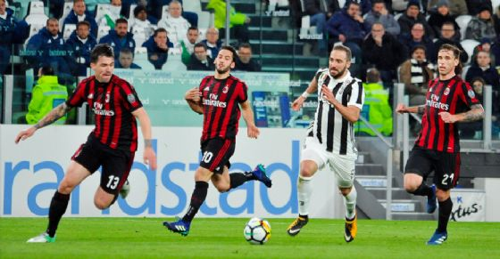 Un'azione di Juventus-Milan