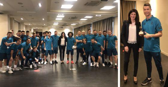 Chiara Appendino incontra il Real Madrid e parla con Cristiano Ronaldo