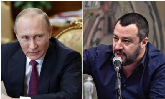 Il presidente russo Vladimir Putin e il leader della Lega Matteo Salvini.