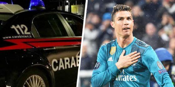 Carabinieri e Cristiano Ronaldo, giustiziere della Juve e stella del Real Madrid, ieri sera a Torino