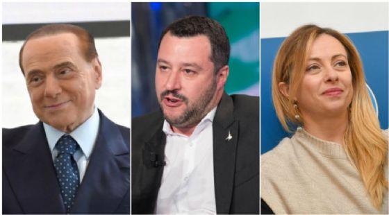 Silvio Berlusconi, Matteo Salvini, Giorgia Meloni.